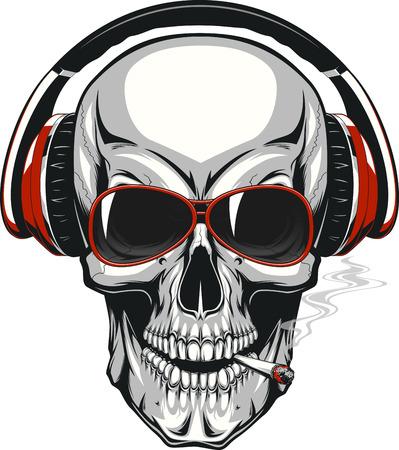 図では、ヘッドフォンで音楽を聴く人間の頭蓋骨  イラスト・ベクター素材