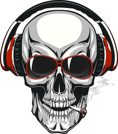 illustration, human skull listening to music on headphones