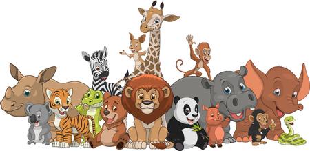 Vector illustration set of funny exotic animals  イラスト・ベクター素材