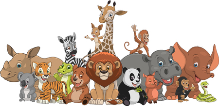 Vector illustration set of funny exotic animals Stock Illustratie