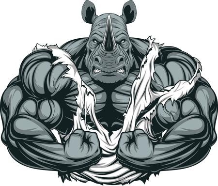 Ilustracja wektora silny nosorożca z big biceps Ilustracje wektorowe
