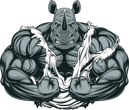 barbell: Vector illustration of a strong rhino with big biceps