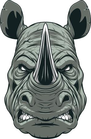 Illustration vectorielle, une tête de rhinocéros féroce sur fond blanc
