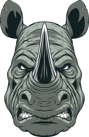 Vector illustration, a ferocious rhinoceros head on a white background Stock Illustratie