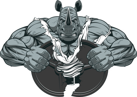 bodybuilding: Vector illustration of a strong rhino with big biceps