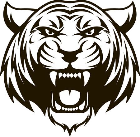 Ilustracji wektorowych głowa dzikiego tygrysa na białym tle Ilustracje wektorowe