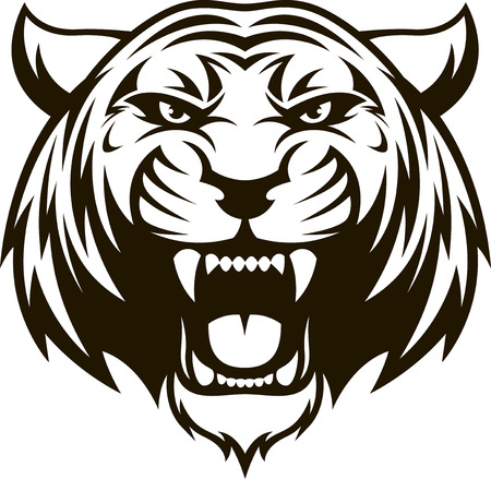 Vector illustration head ferocious tiger on a white background Иллюстрация