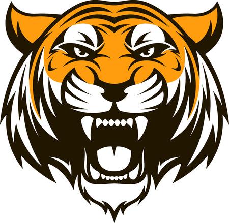 白の背景にベクトル図頭獰猛な虎