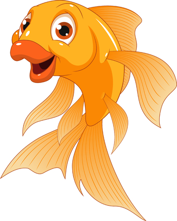 Vector illustration of a cute smiling goldfish on a white background.