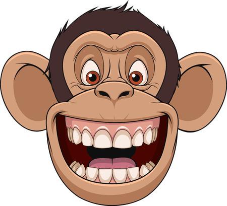 divertido: Ilustración del vector, chimpancé divertido cabeza sonriente, sobre un fondo blanco