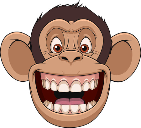 Vector illustration, funny chimpanzee head smiling, on a white background Иллюстрация