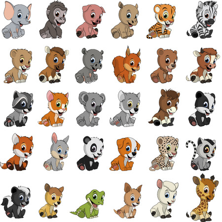 Vector illustration set of funny exotic animals on a white background Иллюстрация
