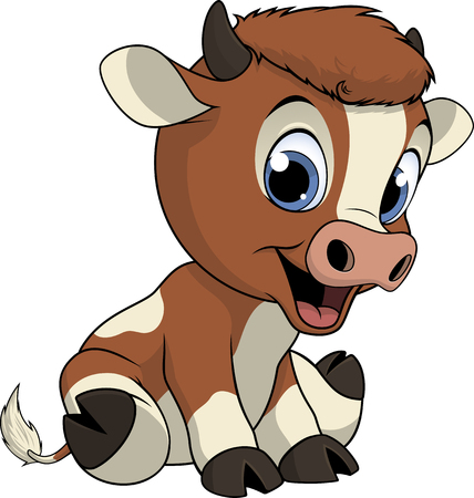 udders: Vector illustration, funny baby cow, on a white background.