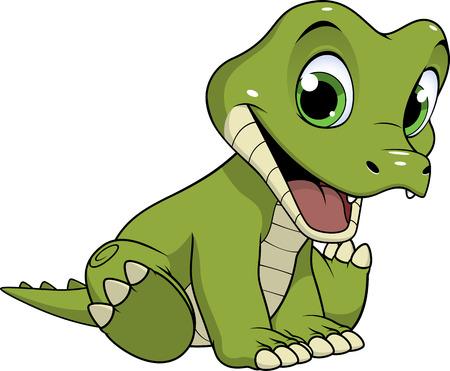 wave hello: Cute funny crocodile