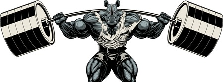 Vector illustration, symbol of a strong bodybuilder rhinoceros squats with a barbell on a white background
