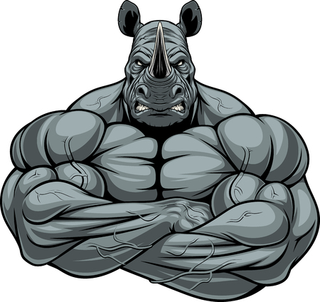 Vector illustration, symbol of a strong bodybuilder rhinoceros on a white background