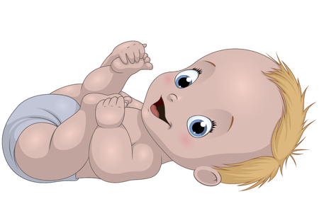Vector illustration of funny baby laughing on a white background