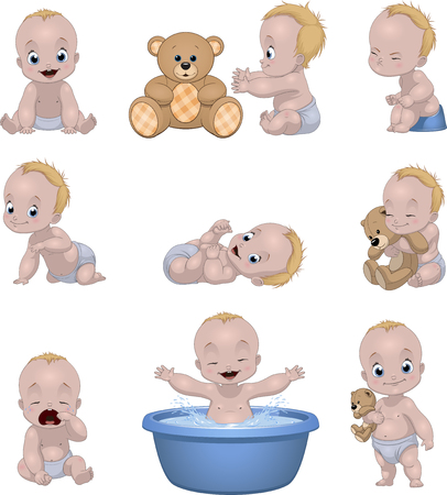 Vector illustration set of funny babies kids on a white background