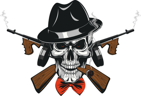 Vector illustration of a skull of a gangster in a hat smoking a cigar, wearing weapon, frighten Vettoriali