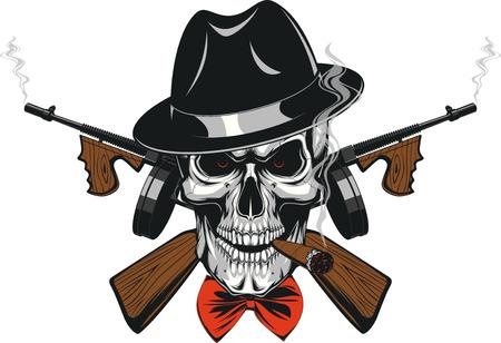 Ilustración vectorial de un cráneo de un gángster en un sombrero fumar un cigarro, el uso de armas, asustar