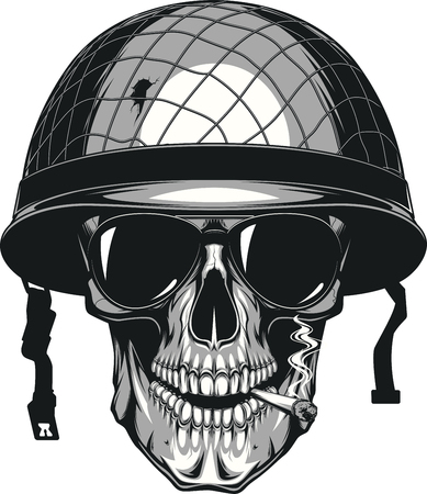 Vector illustration of human skull smoking a cigarette in a military helmet Illustration