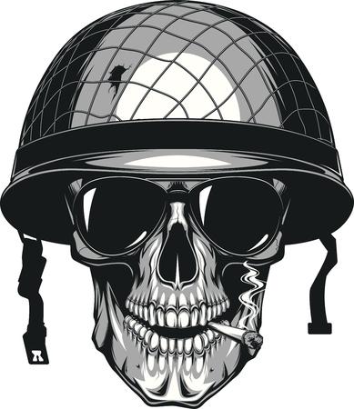 Vektor-Illustration des menschlichen Schädel, der eine Zigarette in einem militärischen Helm rauchen Standard-Bild - 69115585