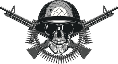 Vector illustration of human skull smoking a cigarette in a military helmet Ilustração