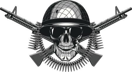 Vektor-Illustration des menschlichen Schädel, der eine Zigarette in einem militärischen Helm rauchen