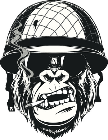 killer: Vector illustration of a monkey American soldier smokes a cigarette in a helmet with glasses