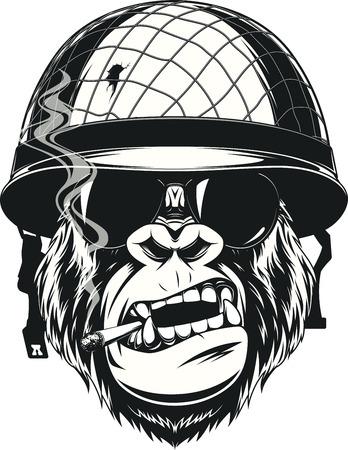 Vector l'illustrazione di una scimmia soldato americano fuma una sigaretta in un casco con gli occhiali Vettoriali