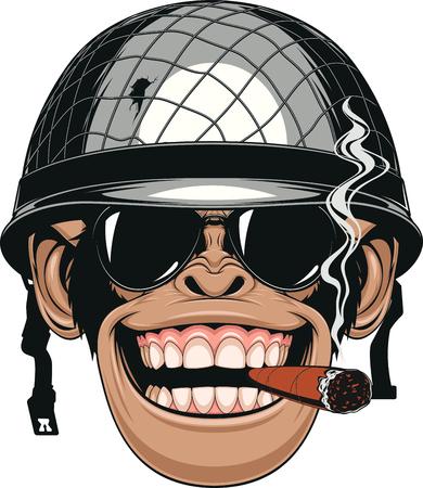 cigarro: Ilustración vectorial de mono divertido chimpancé en el casco de un soldado fuma un cigarro Vectores