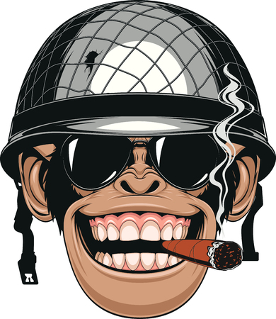 Vector illustration of funny chimpanzee monkey in a soldiers helmet smokes a cigar Ilustração