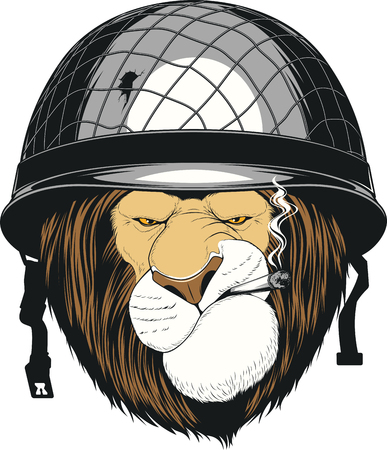rey caricatura: Vector illustration of funny lion in a soldiers helmet smokes a cigarette