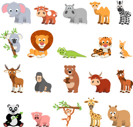 coldblooded: Vector illustration vector set of funny exotic animals on a white background