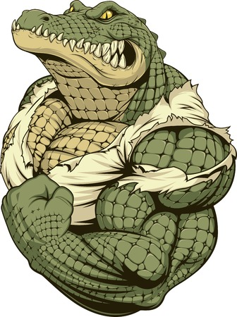 Vector illustration, a ferocious alligator bodybuilder athlete posing, showing large biceps