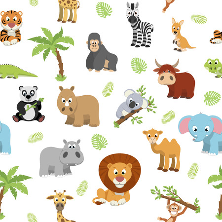 Vector illustration vector background of funny exotic animals