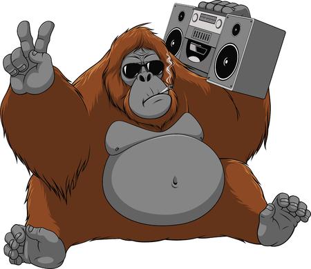 面白い猿オランウータンのベクトル イラストを楽しんで座ってタバコを吸って、レコーダーで音楽を聴く