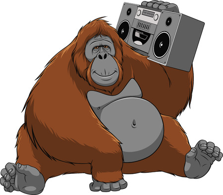 Vector illustration of funny monkey orangutan enjoys listening to music, sitting with the recorder Illustration