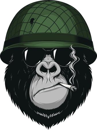 猿のアメリカの兵士のベクトル イラスト付きヘルメットでタバコを吸う  イラスト・ベクター素材