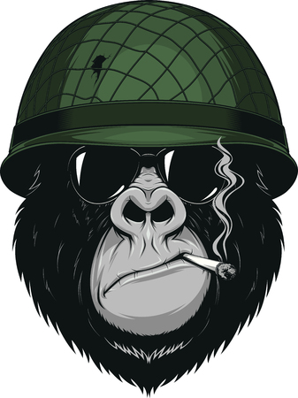 Vector illustration of a monkey American soldier smokes a cigarette in a helmet with