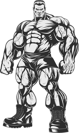 Vector illustration, Bodybuilder  strict coach bodybuilding and fitness Çizim