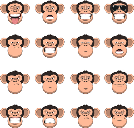 벡터 일러스트 레이 션, 재미 있은 침팬지 웃 고, 원숭이 머리, 다른 감정, 스마일, 흰색 배경에 설정 일러스트