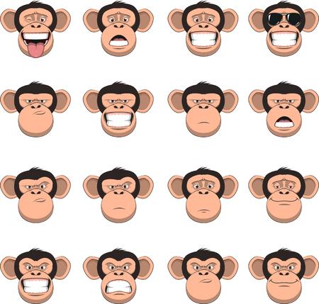 Vectorillustratie, grappige chimpansee glimlachen, set van aap hoofden, verschillende emoties, smileys, op een witte achtergrond