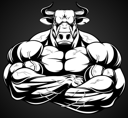 iron: Vector illustration of a strong healthy bull with large biceps.