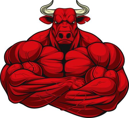 Wektorowa ilustracja silny zdrowy byk z wielkimi bicepsami.