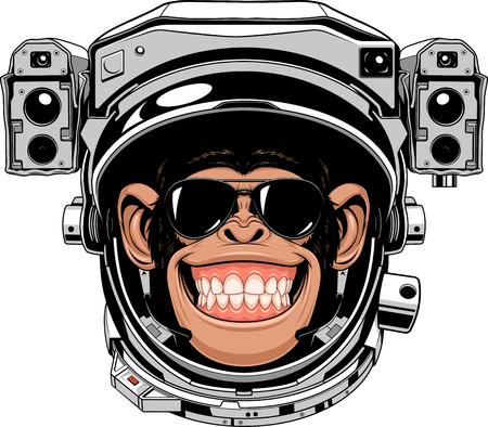 宇宙飛行士のスーツ、葉巻を吸って面白いチンパンジーのベクトル イラスト  イラスト・ベクター素材
