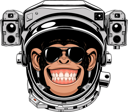 Vector illustration of a funny chimpanzee in an astronauts suit, smoking a cigar