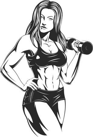 Vector illustration: beautiful fitness girl doing exercises with dumbbells, posing, playing sports. Illustration