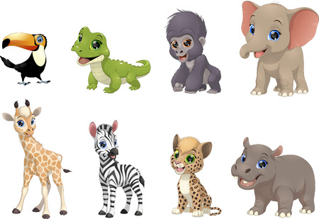 coldblooded: Vector illustration set of funny exotic animals on a white background Illustration