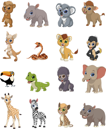Vector illustration set of funny exotic animals Illusztráció